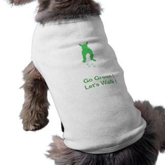 小犬のワイシャツの上の緑の犬の耳は歩こう ペット服