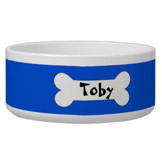 小犬の青青く名前入りな犬ボール 犬用ごはん皿
