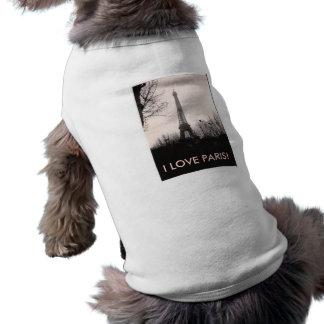 小犬のTシャツかエッフェル塔 ペット服