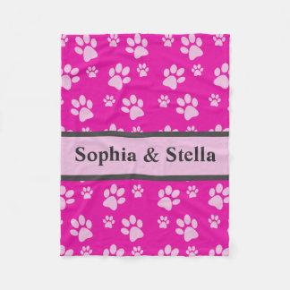 小犬毛布はカスタムな小犬の名前のピンクを加えます フリースブランケット