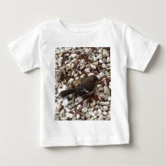 小石のブラウンの赤ん坊のすずめ ベビーTシャツ
