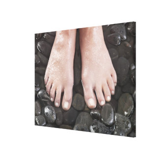 小石の女性の足 キャンバスプリント