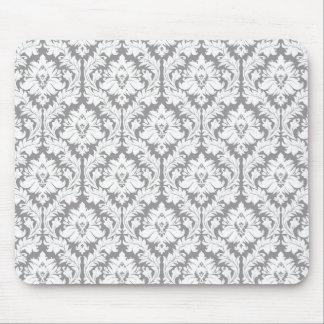 小石の灰色のダマスク織パターン マウスパッド