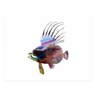 小舟の魚-カラフルな魚の芸術 ポストカード