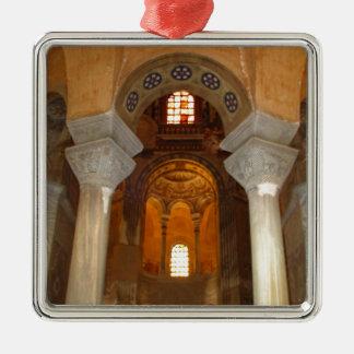 小部屋の柱 シルバーカラー正方形オーナメント