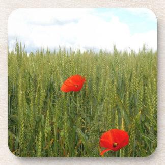 小麦畑の堅いプラスチックコースターのケシ コースター