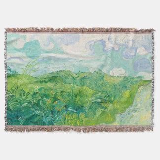 小麦畑のAuvers緑の(F807)ゴッホのファインアート ブランケット