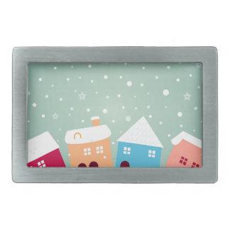 少しかわいい冬の家。 元のデザイン 長方形ベルトバックル