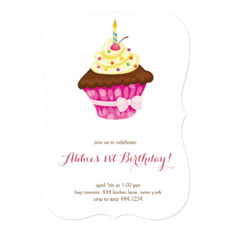 少しカップケーキの最初誕生日の招待状 カード