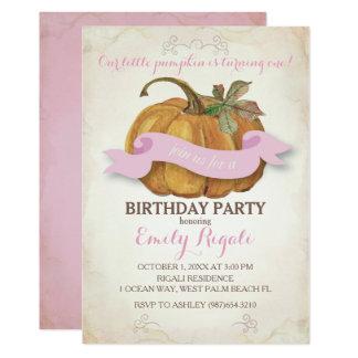 少しカボチャ誕生日のパーティの招待状-女の子 カード