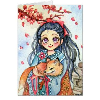 少しキツネを握っている着物の女の子 カード