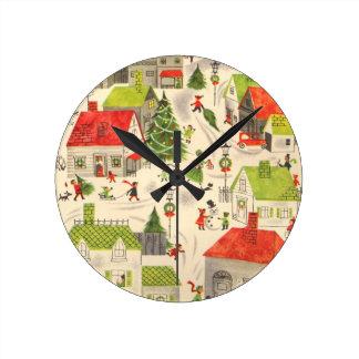 少しクリスマスの村 ラウンド壁時計