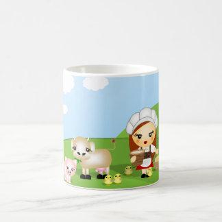 少しミルクの女中および友人 コーヒーマグカップ