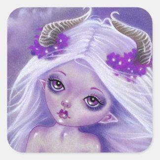 少しルナの女の子の月の紫色のステッカー スクエアシール