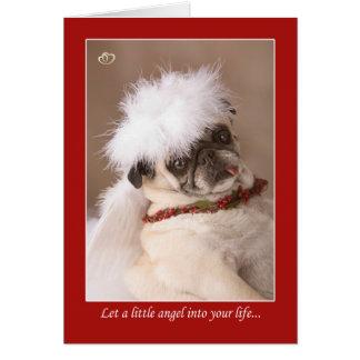 少し天使のクリスマスのパグカード カード
