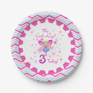 少し天使の第3誕生日の紙皿 ペーパープレート