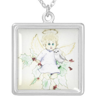 少し天使 シルバープレートネックレス