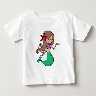 少し失敗の人魚-ブルネットの毛 ベビーTシャツ