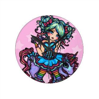 少し失敗Deelishの妖精のユニコーンのプリンセスのファンタジー ラウンド壁時計