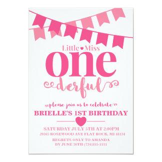 少し失敗Onederfulの最初誕生日の招待状 カード