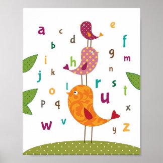 少し小鳥のアルファベットの子供部屋の芸術 ポスター