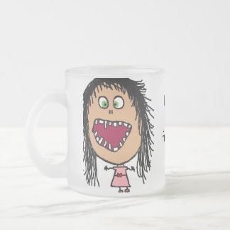 少し熱狂するな目の漫画の女の子 フロストグラスマグカップ