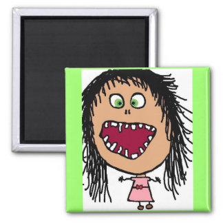 少し熱狂するな目の漫画の女の子 マグネット