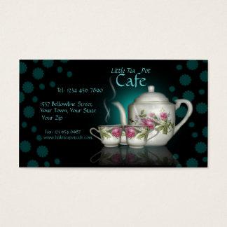 少し茶ポットのカフェの店の名刺 名刺
