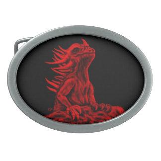 少し赤いドラゴン 卵形バックル