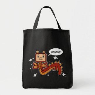 少し赤いドラゴン-食料雑貨のトート トートバッグ