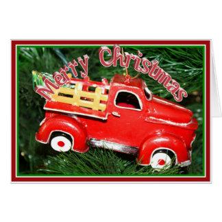 少し赤いピックアップトラックのクリスマスのオーナメント(2) カード
