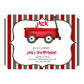 少し赤いワゴン男の子の誕生日の招待状 カード