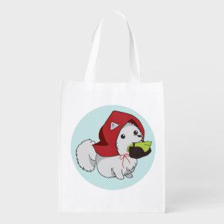 少し赤い乗馬の子犬 エコバッグ
