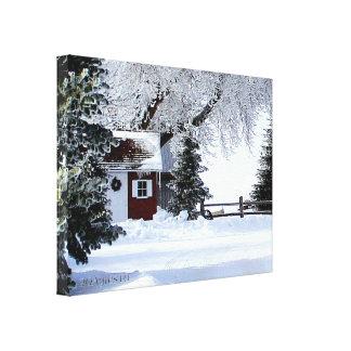 少し赤い小屋のキャンバス キャンバスプリント