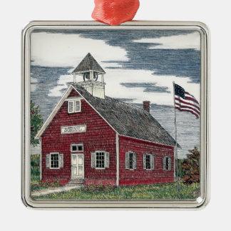 少し赤い校舎の優れた正方形のオーナメント シルバーカラー正方形オーナメント