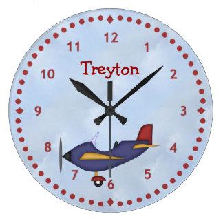 少し青い飛行機の柱時計 ラージ壁時計