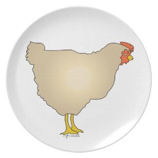 少し黄褐色の雌鶏の芸術の雌鶏のプレート プレート