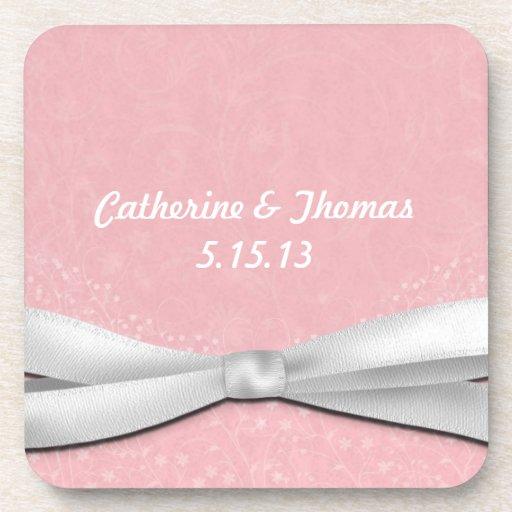 少女っぽい|ピンク|白い|リボン|花柄|設計 飲み物コースター