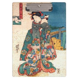 少女と猫、猫、Kuniyoshi、Ukiyo-eを持つ国芳の女の子 クリップボード