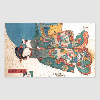 少女と猫、猫、Kuniyoshi、Ukiyo-eを持つ国芳の女の子 長方形シール