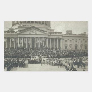 就任の宣誓を取っているセオドア・ルーズベルト大統領 長方形シール