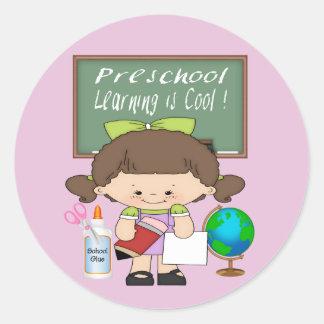 就学前に女の子の学ぶことはクールな円形のステッカーです ラウンドシール