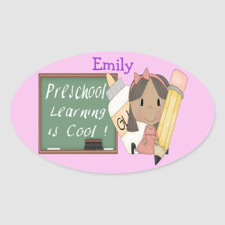 就学前に民族に女の子の学ぶことはクールな楕円形のStickeです 楕円形シール