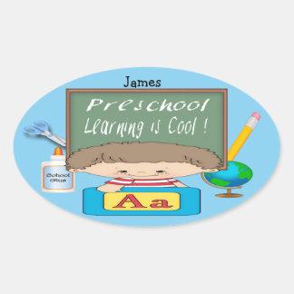 就学前に男の子の学ぶことはクールな楕円形のステッカーです 楕円形シール