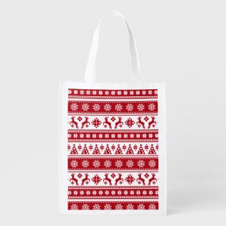 居心地のよいクリスマスの休日の北欧パターン エコバッグ