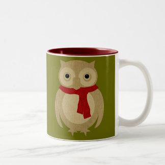 居心地のよいフクロウのマグ ツートーンマグカップ