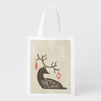 居心地のよいメリークリスマスのトナカイ エコバッグ