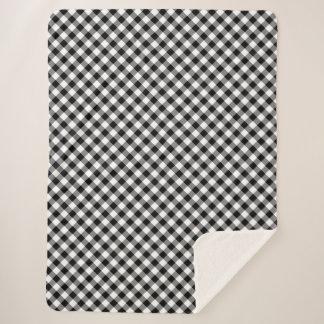居心地のよい斜めの白黒ギンガムの格子縞 シェルパブランケット