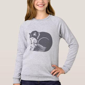 居心地のよく眠い灰色のハスキーな女の子のRaglanのスエットシャツ スウェットシャツ