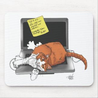 居眠りされたコンピュータ マウスパッド